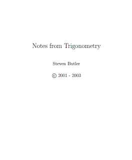 Notes from Trigonometry