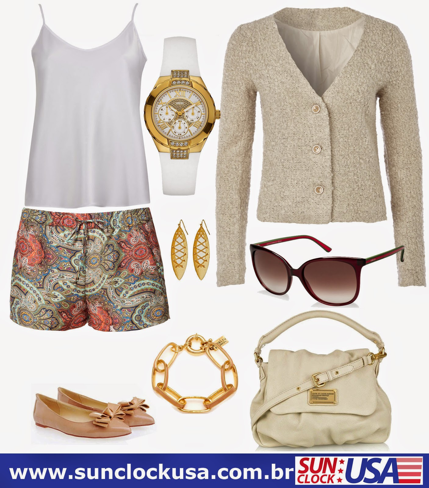 Relógios Guess e Óculos Gucci
