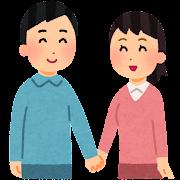 手をつなぐカップル・夫婦のイラスト