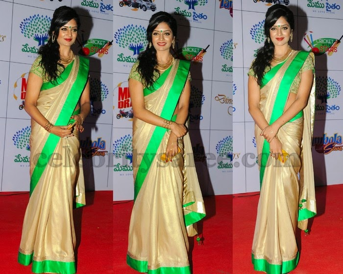 Vimala Raman Gold Satin Saree