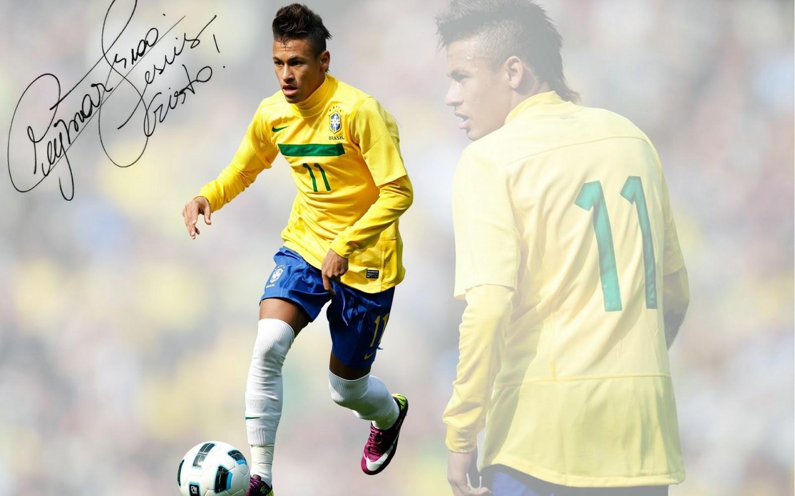 صورة نيمار البرازيلي مع توقيعه على الصوره