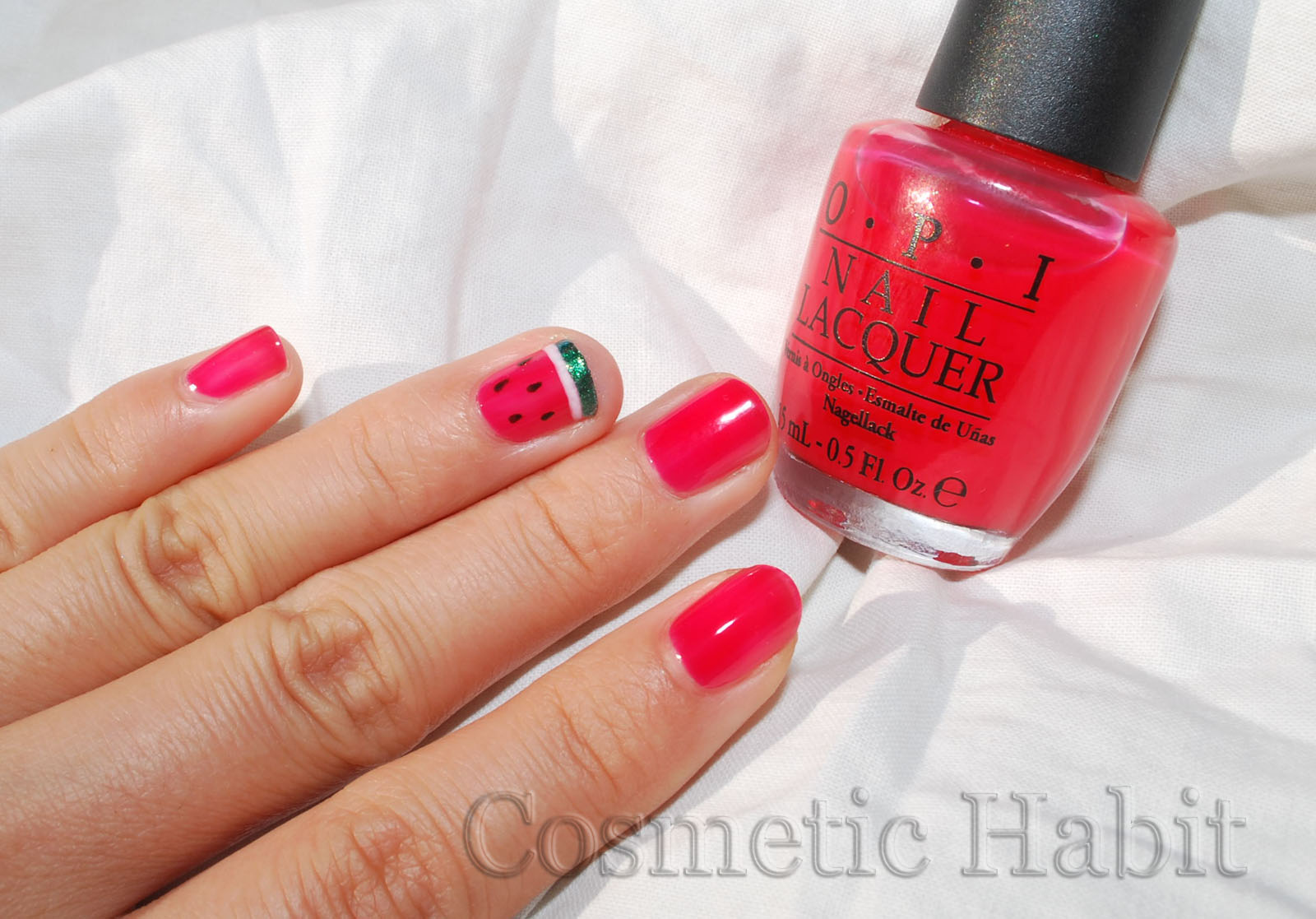 Cosmetic Habit: Watermelon Nail Art Design: Photos, Swatches