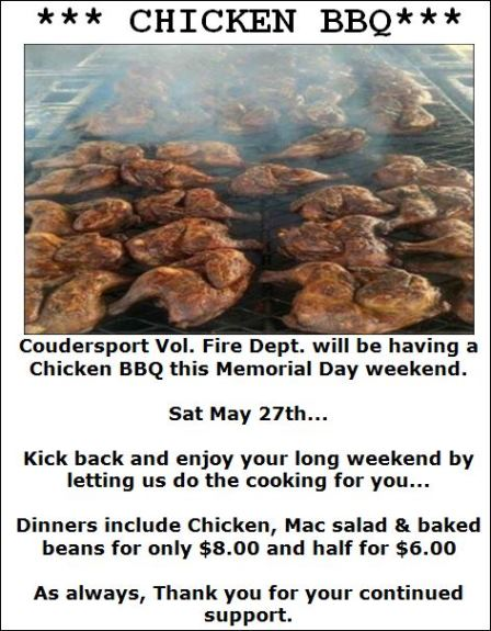 5-27 Coudersport Vol Fire Dept Chicken BBQ