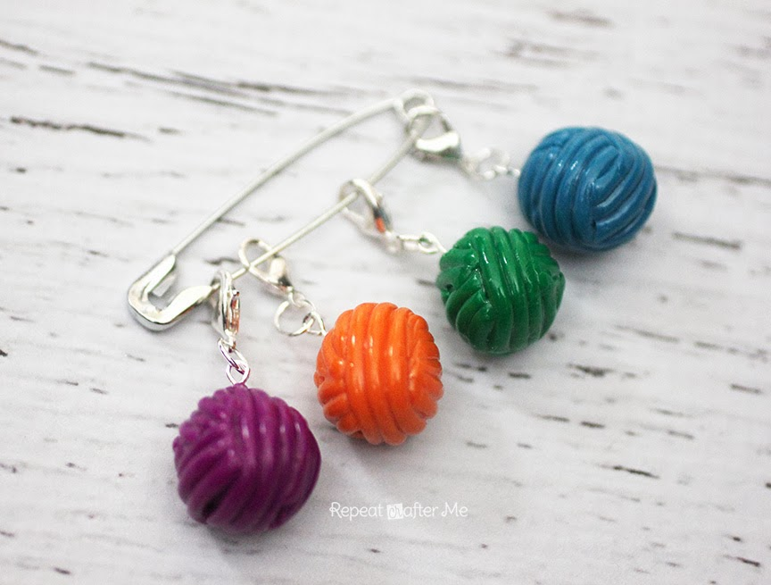 how to make yarn stitch markers using polymer clay