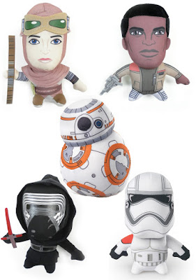 Star Wars: The Force Awakens Super Deformed Plush Figures by Comic Images - Rey, Finn, BB-8, Kylo Ren & First Order Stormtrooper