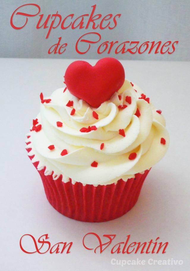 Cupcake de corazones para San Valentín
