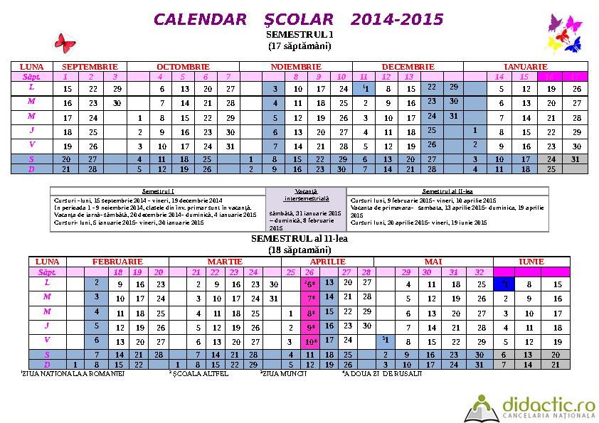Calendar scolar 2014 Calendar scolar 2015