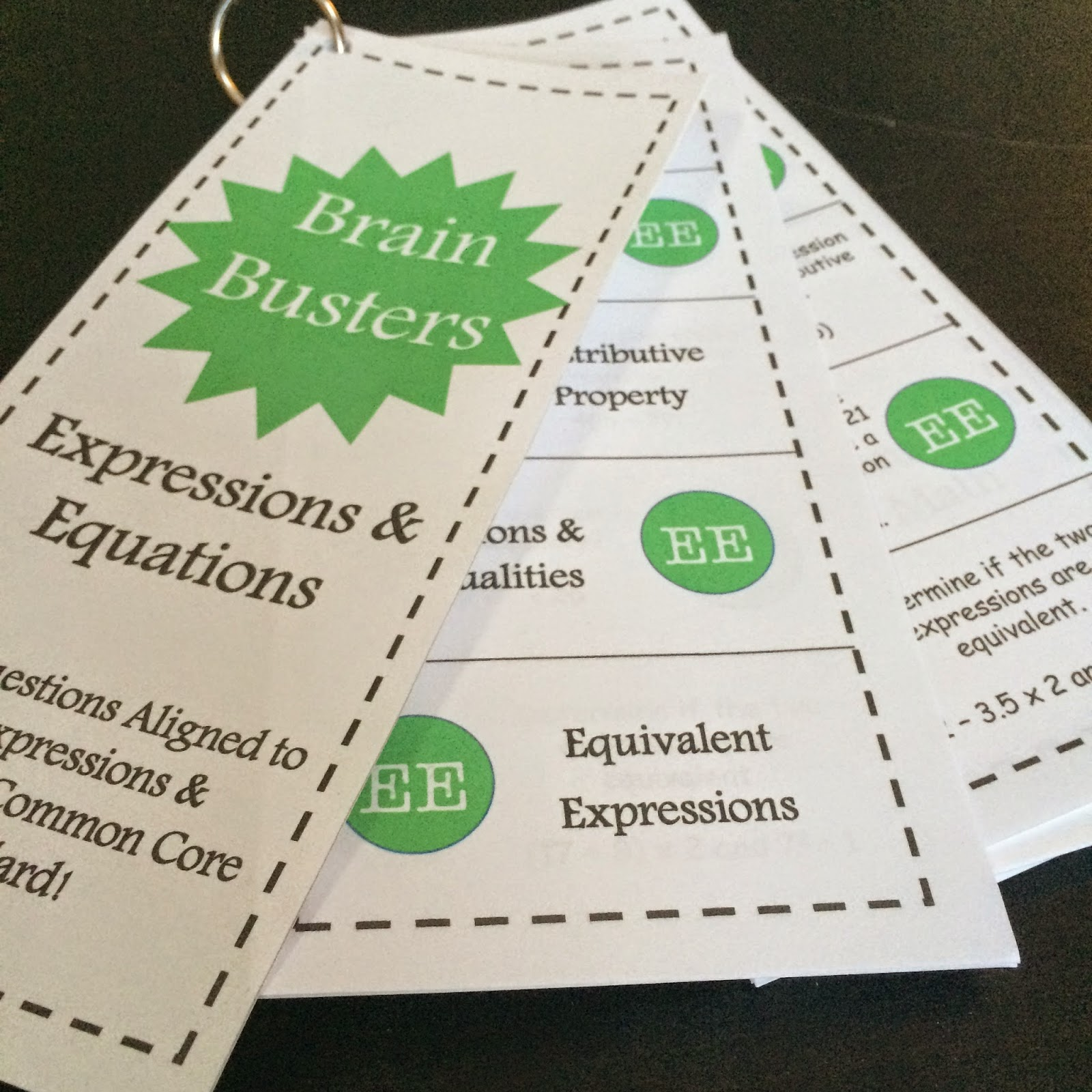 http://www.teacherspayteachers.com/Product/Math-Brain-Busters-Algebra-Expressions-Equations-1631608