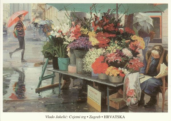 painting of an old woman beside a stall of flowers