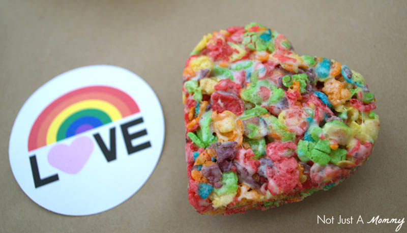 Make Valentine's Day treats with Fruity Pebbles and cut with a heart cookie cutter
