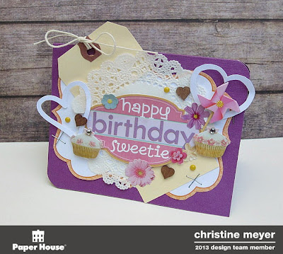 Paper House Productions Card by Christine Meyer - creating a card without using patterned paper