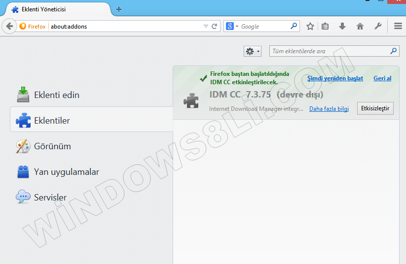 Mozilla Firefox Eklenti Kaldır
