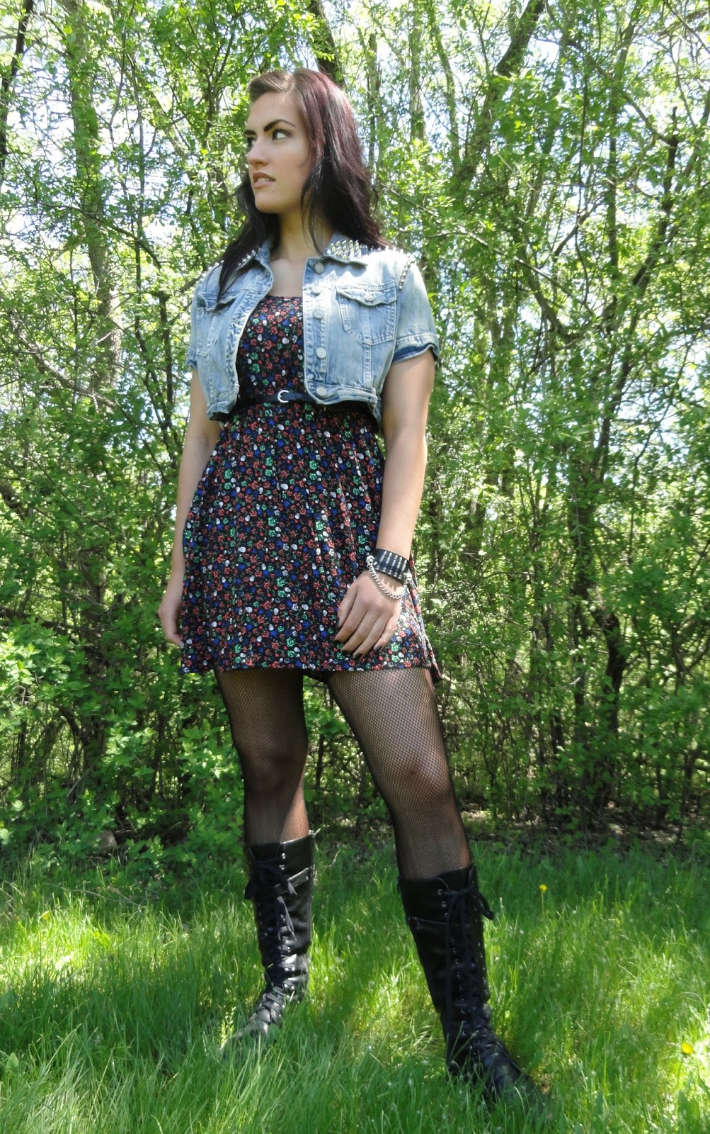 the corporate witch pirate floral dress combat boots and