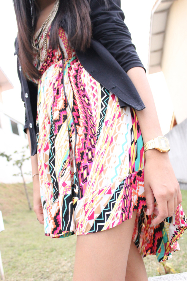 vestido étnico, vestido mullet, étnico, mullet, sapatilha laranja, vestido renner