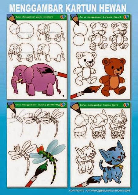 Cara Menggambar Hewan Kartun