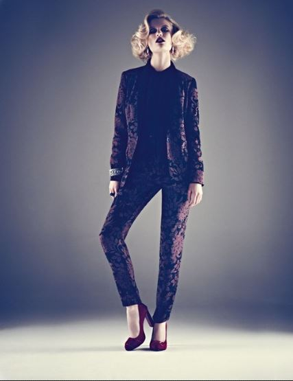 Brocade suit from M&S in ladylike goth trend of AW12