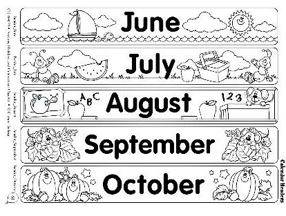 Fichas de ingl s para ni os months of the year flascards for Months of the year coloring pages