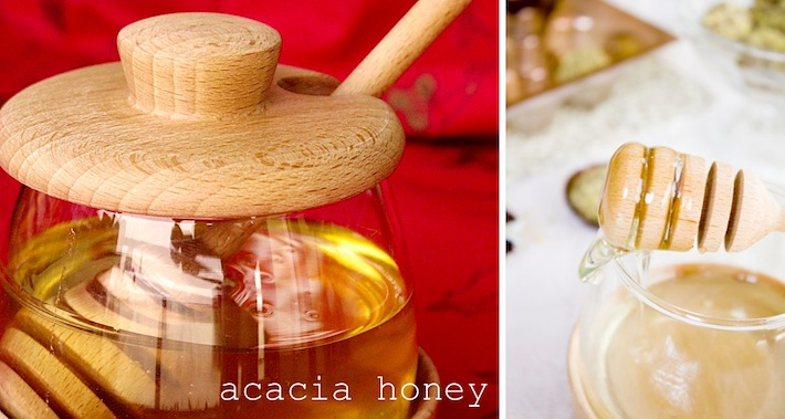 organic natural acacia honey in glass jar