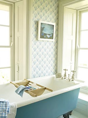 Two Wallpapered Bathrooms .