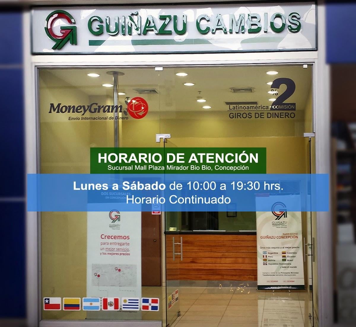 Casa de Cambio Guiñazu - Horarios Mall Mirador Bio Bio