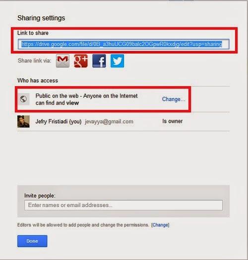 Simpan file online di google drive