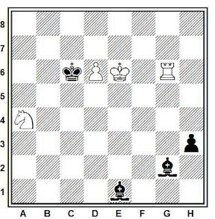Estudio artístico de ajedrez compuesto por G. M. Kasparian (1ª Mención de Honor, Romana de Sah, 1980)