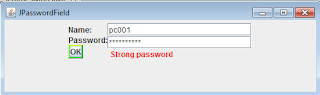 JPasswordField password checker swing