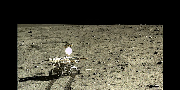 The Chinese lunar rover, Yutu, photographed by its lander Chang'e-3, after the lander touched down in Mare Imbrium, a giant impact basin that had been filled by successive lava flows. Credit: CNAS/CLEP