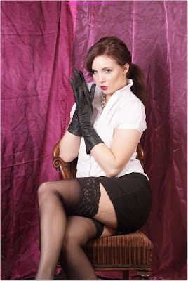 Sexy Secretary Leather Gloves and Stockings