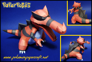 Pokemon Krookodile Papercraft - Ground Dark Model