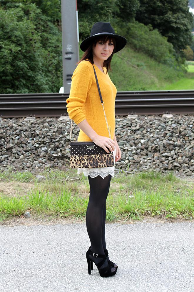outfit trend fashionblogger senfgelb takko hm spitze highheels mango clutch leopard 08
