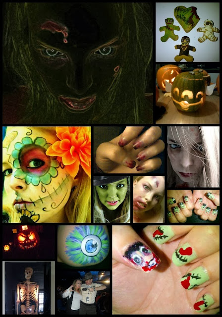 Halloween, Nail Art, Face Paint, Pumpkin, Zombie, Sugar Skull, Cookies, Skeleton, Walking Dead, Bump Painting, Witch