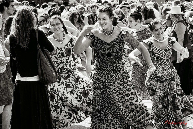 Buddhist Women Dancing in Arcata Plaza Event