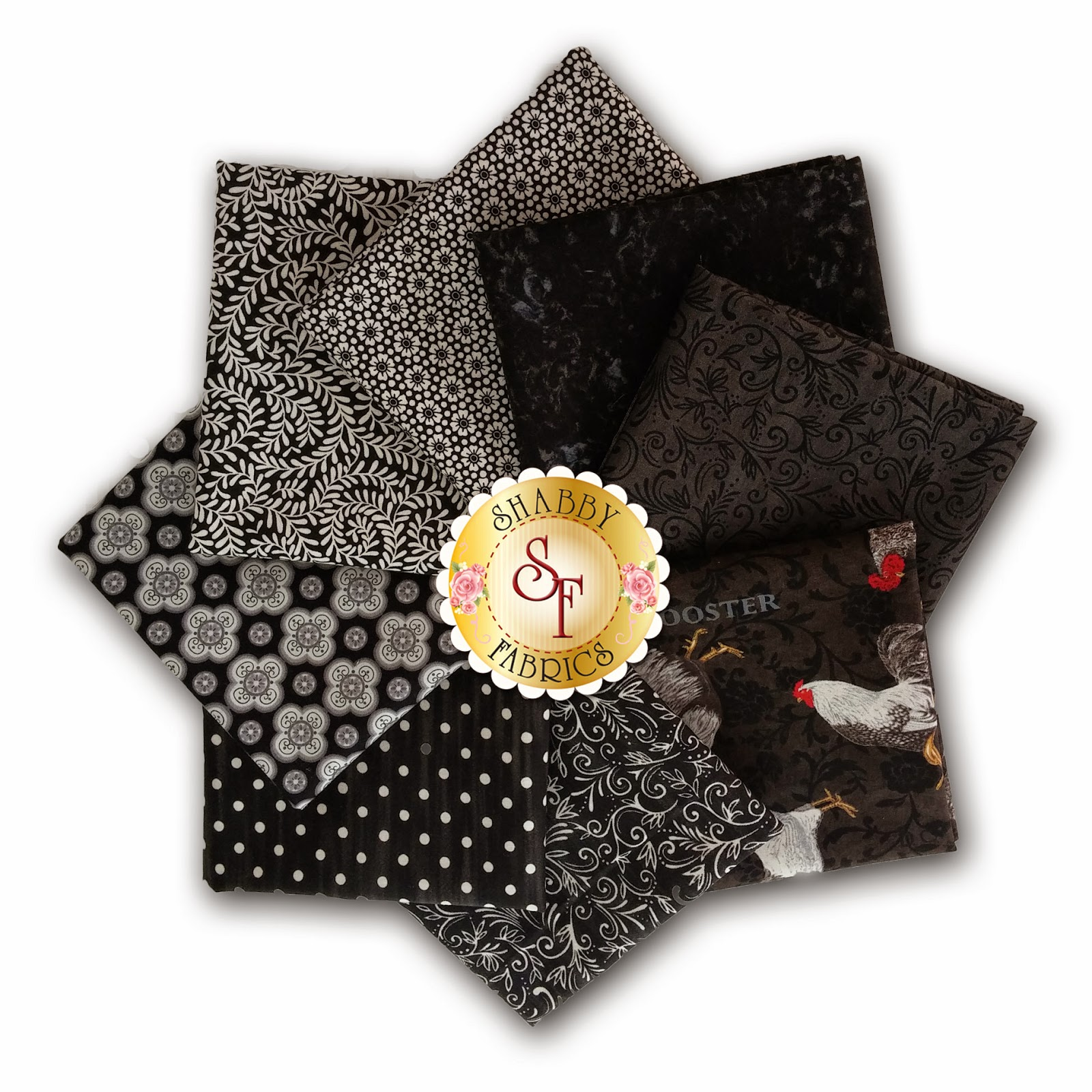 Ebony El Gallo Fabric Collection 8 FQ Set