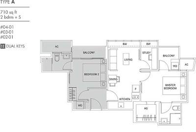 Cassia Edge 2 bedrooms + study Floor Plan