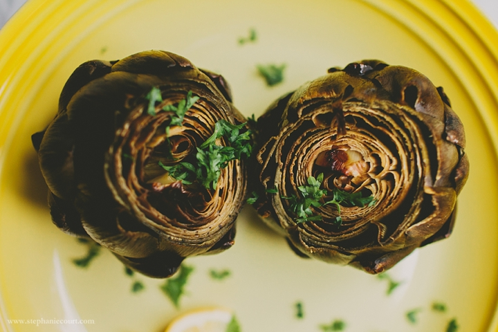 """roasted artichokes recipe with garlic and lemon juice"""