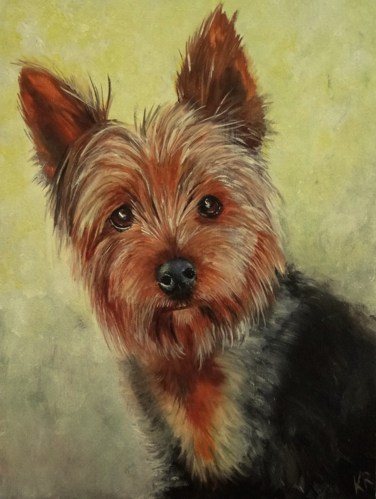 oil painting of a yorkshire terrier, yorkie, oils on board, a pet portrait by karen