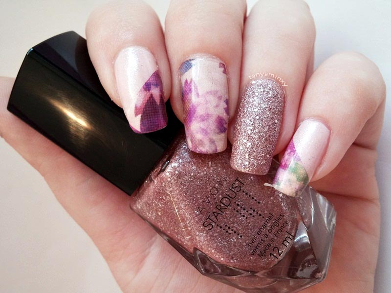 Purple Nude BPS Water Decals And Glitter Avon Stardust Crystalized Pink Nails Nail Art Design NOTD Manicure