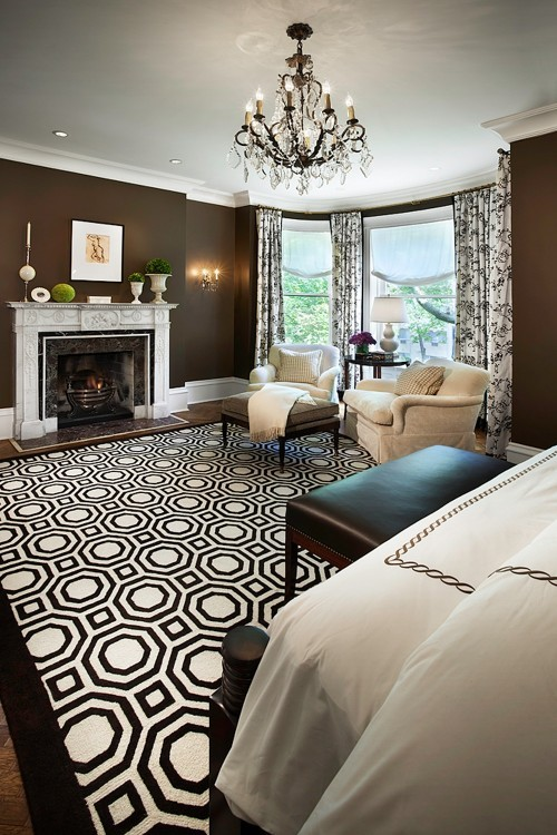 Regina evil queen 39 s office monaco interiors for Black white and brown bedroom ideas