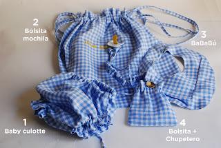 Culotte bebé, bolsita guardería, bandana BaBaBú + bolsita y chupetero portachupete