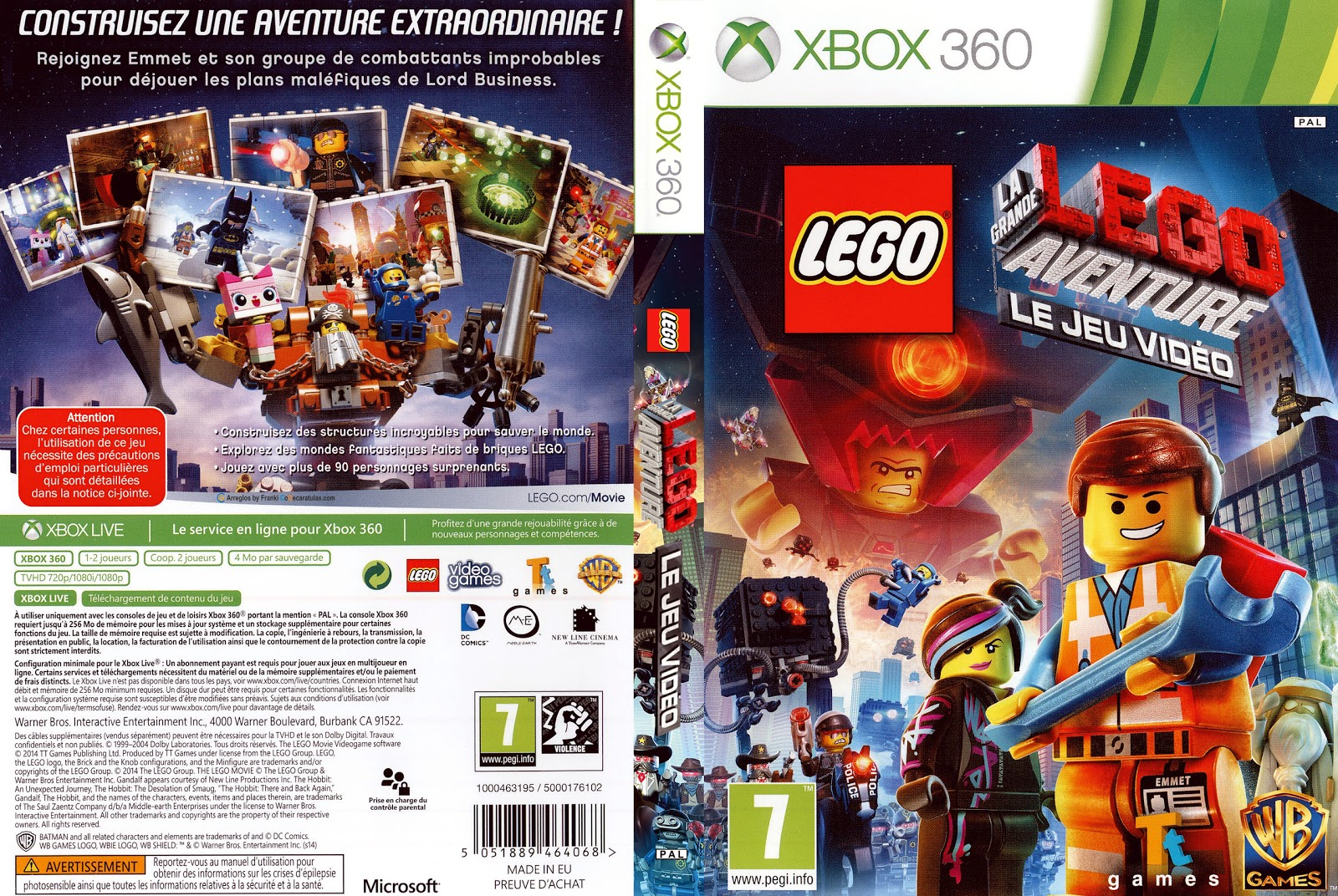 Capa LEGO La Grande Aventure Le Jeu Video Xbox 360