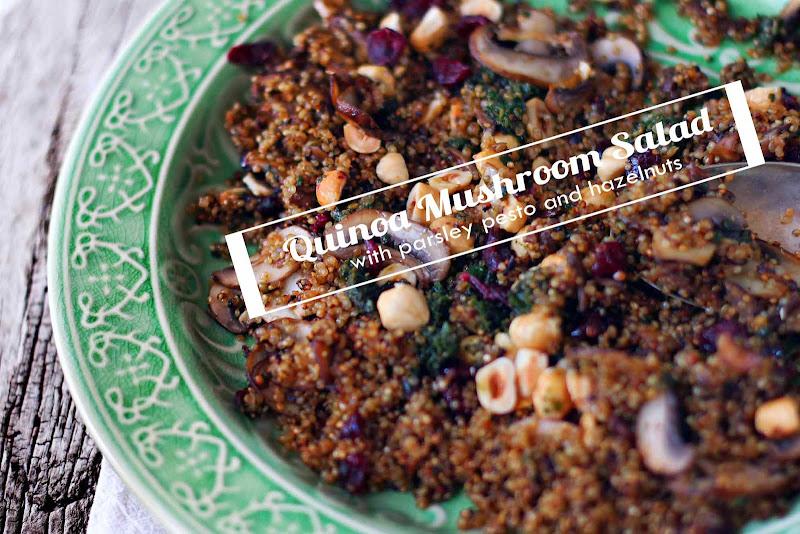 Milk and Honey: Quinoa Mushroom Salad with Parsley Pesto and Hazelnuts