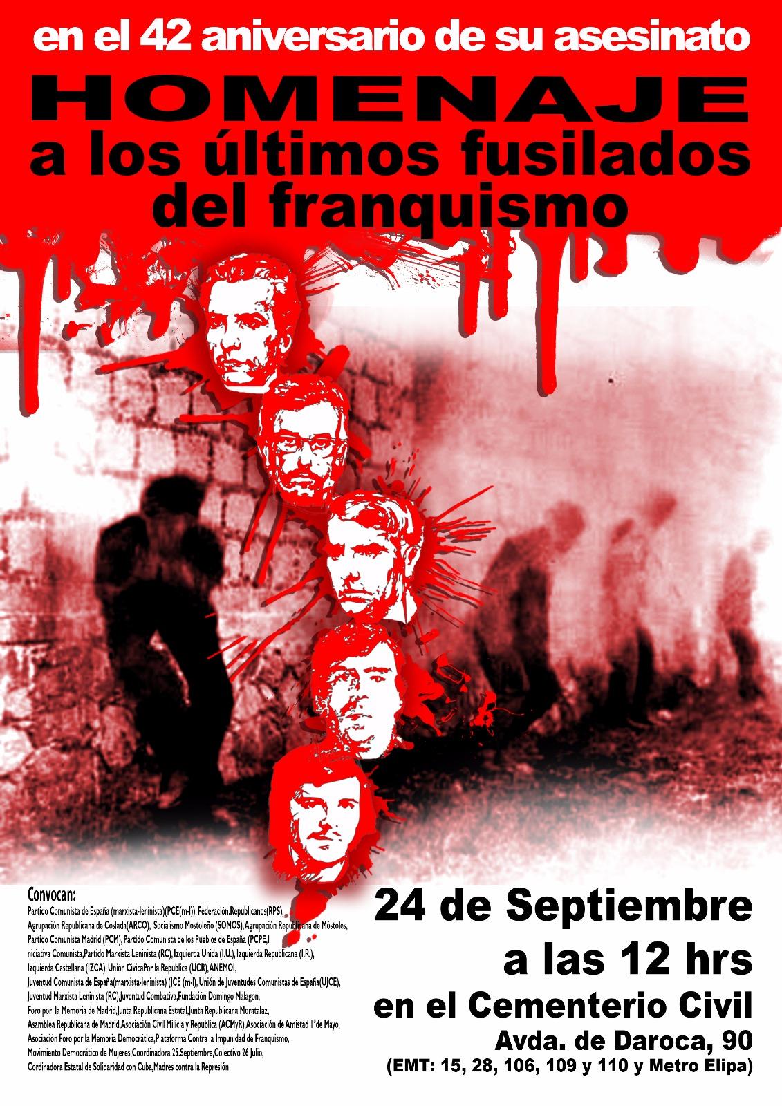 24 septiembre Recordando a los últimos fusilados