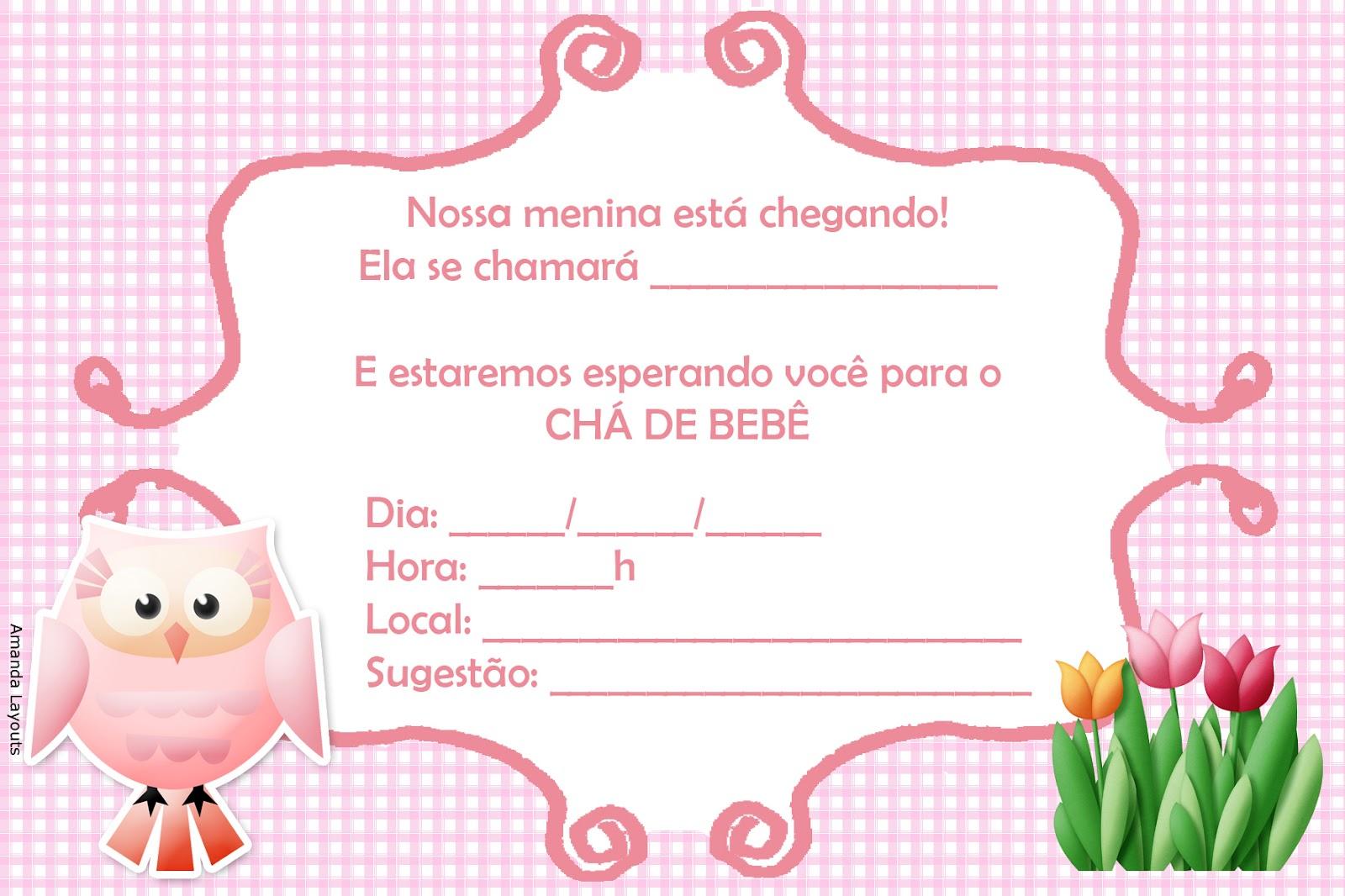 Convite Para Ch   De Beb   Corujinhas