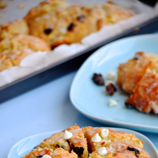 Cherry Orange Scones with White Chocolate Glaze