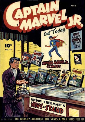 Captain Marvel Junior 37 cover: Freddy Freeman's newsstand with Fawcett comic books displayed