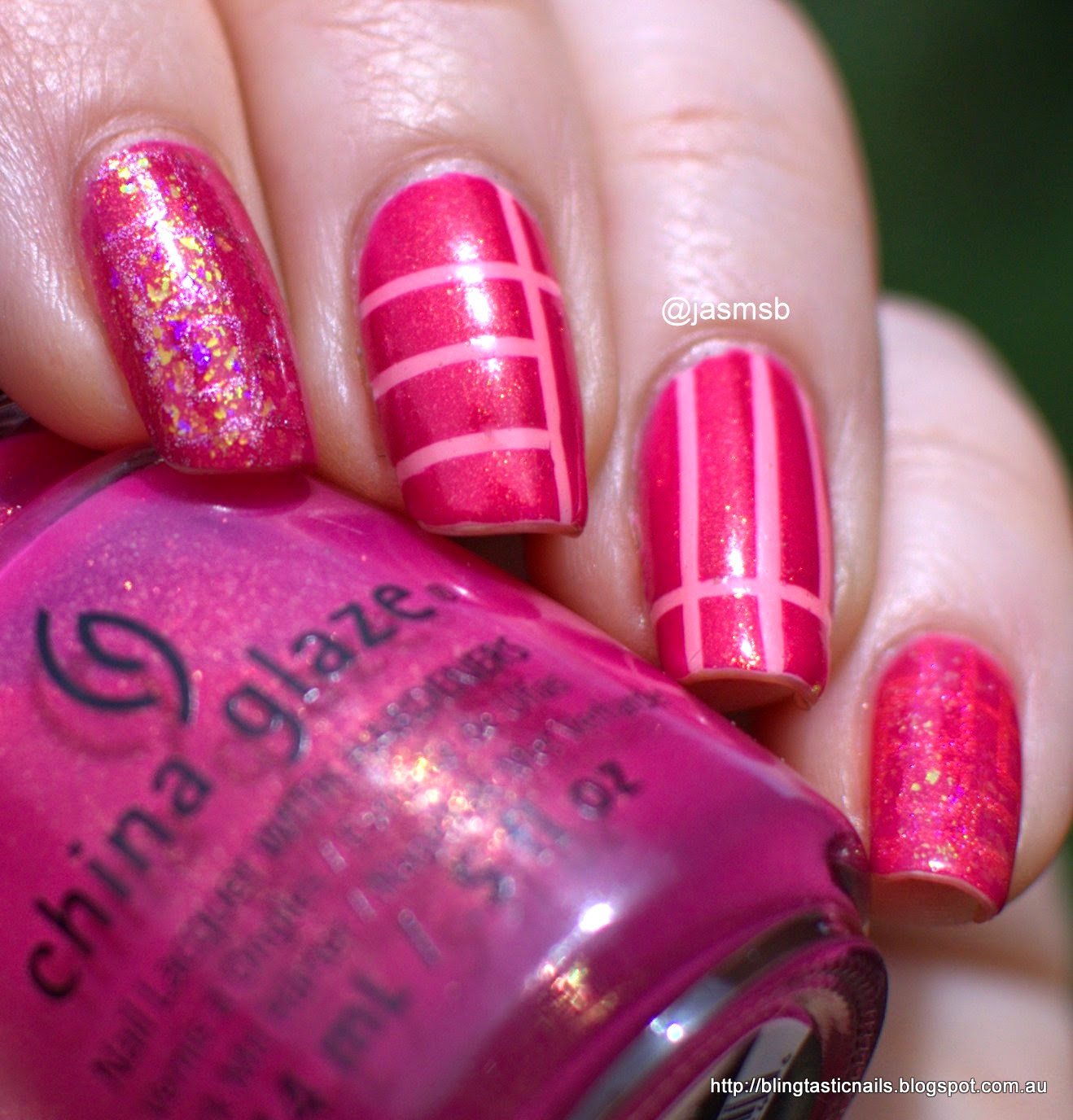 China Glaze Strawberry Fields with Maybelline Bleached Neon Tropink striping tape and Dance Legend Orlando