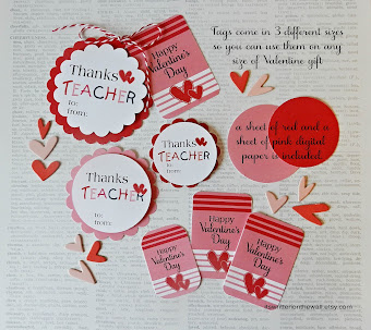 Valentine Teacher Appreciation Tags, Gift Ideas
