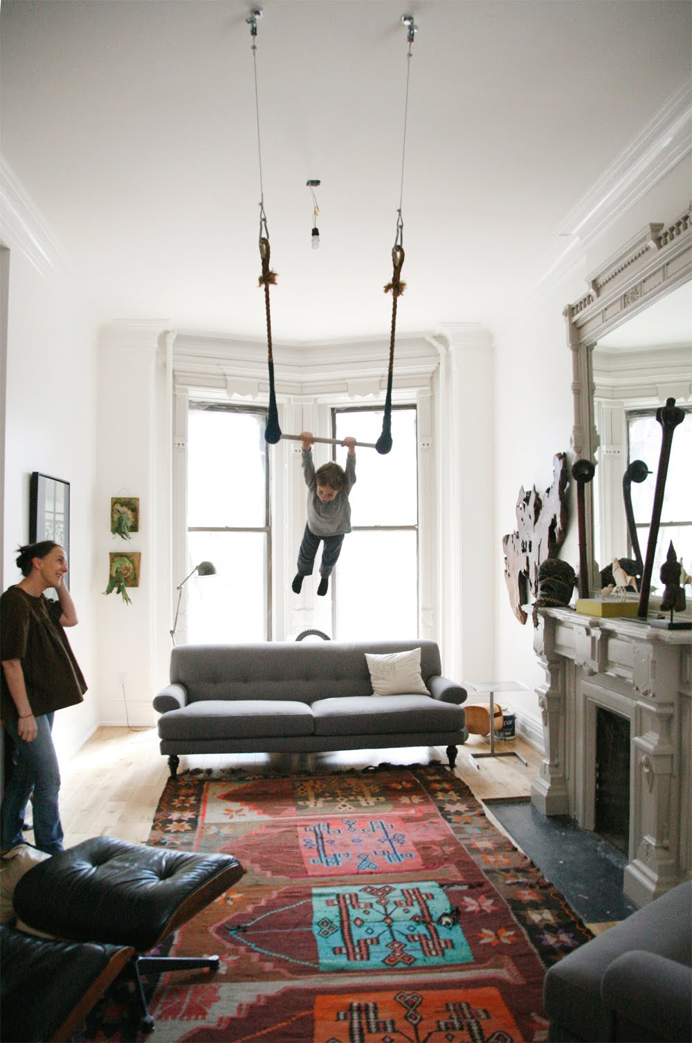 I Have Two Kids: Living room trapeze