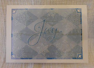 Groovi Christmas card, Joy and snowflakes, in blue